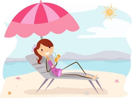 zomers drankje: Illustration of a Girl Enjoying a Summer Drink