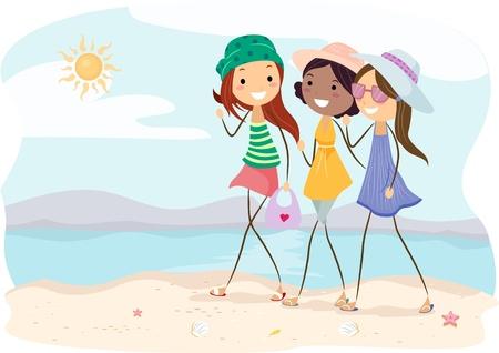 Illustration of Girls Walking on the Beach illustration