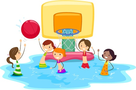 Illustration of Girls Playing Water Basketball illustration
