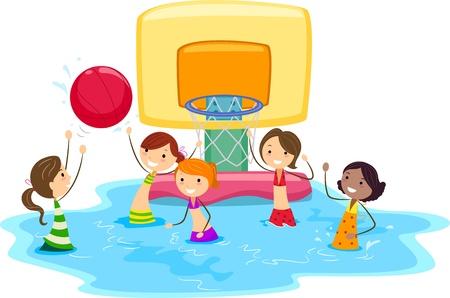 Illustration of Girls Playing Water Basketball illustration