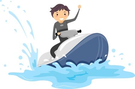 moto acuatica: Ilustraci�n de un tio conduciendo un Jet Ski