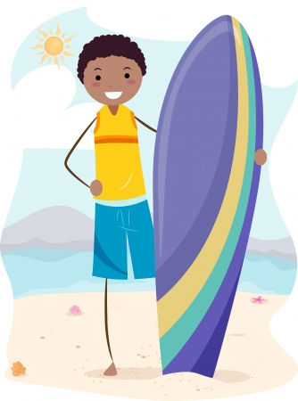 Illustration of a Guy Holding a Surf Board illustration