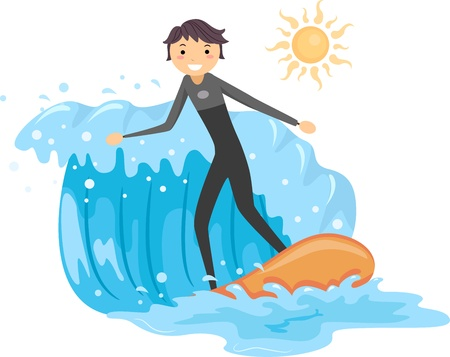 Illustration of a Guy Riding a Wave illustration