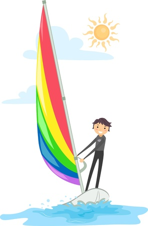 wind surfing: Illustration of a Guy Wind Surfing Stock Photo