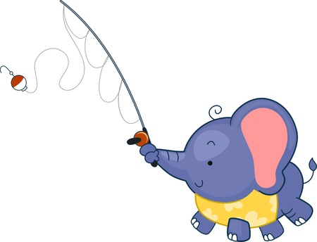 Illustration of an Elephant Fishing