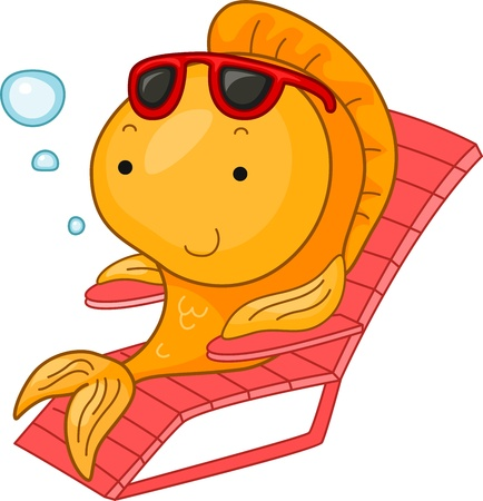 Illustration of a Goldfish Resting on a Chair Stock Illustration - 9915274