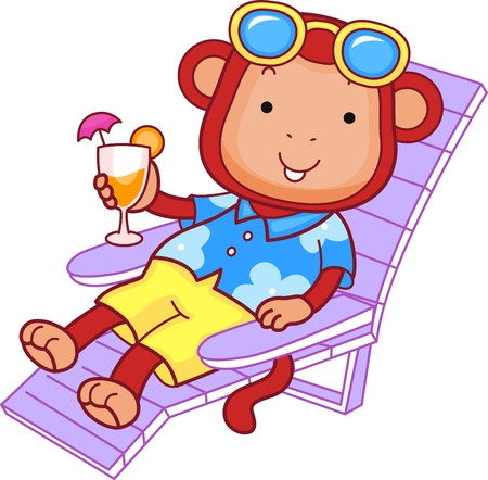 Illustration of a Monkey Enjoying a Drink illustration