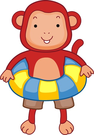 Illustration of a Monkey Wearing a Flotation Device illustration