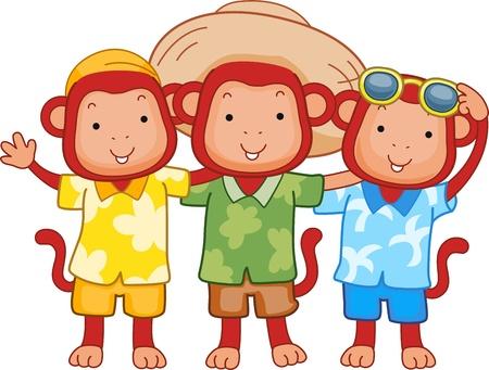 hanging out: Illustration of Monkeys Hanging Out Together