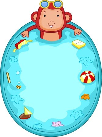 Illustration of a Monkey in a Mini-Pool illustration