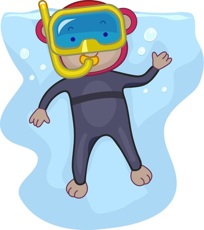 dry suit: Illustration of a Monkey Snorkeling Stock Photo