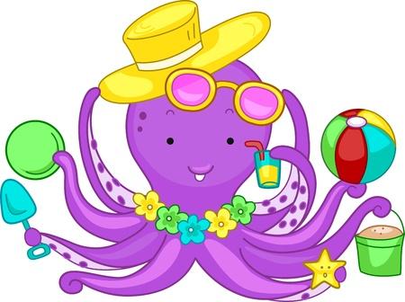 vacancier: Illustration d'un Octopus Jouer dans la plage Banque d'images