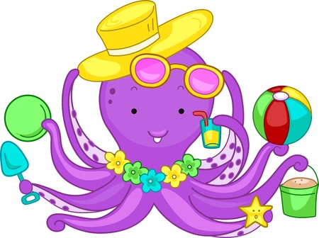 octopus: Illustration of an Octopus Playing in the Beach Stockfoto