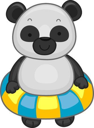 flotation: Illustration of a Panda Wearing a Flotation Device