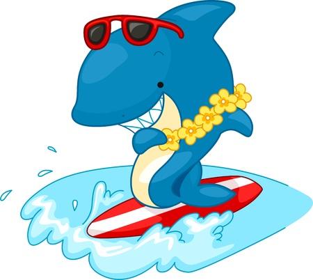 Illustration of a Shark Surfing illustration