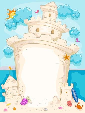 chateau de sable: Illustration fond comportant un ch�teau de sable