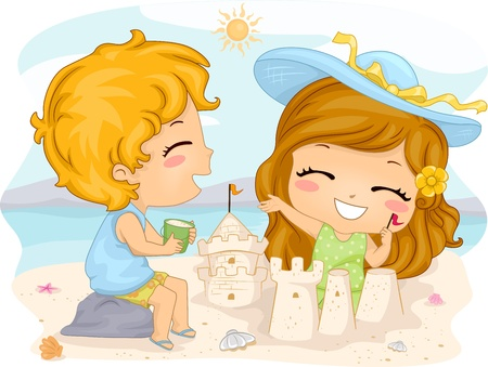 Illustration of Kids Making Sand Castles illustration
