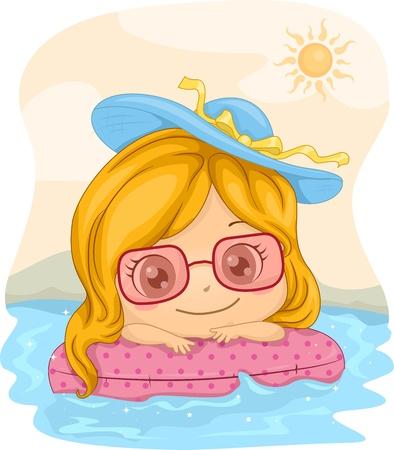 flotation: Illustration of a Girl Leaning Against a Lifebuoy
