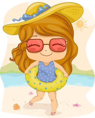 Illustration of a Girl Wearing a Life Buoy illustration