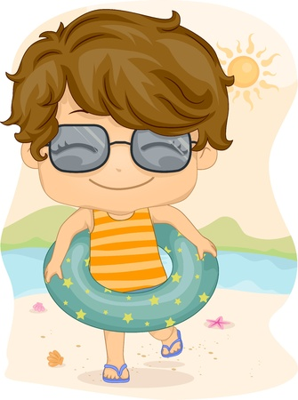 Illustration of a Boy Wearing a Life Buoy Stock Illustration - 9947656