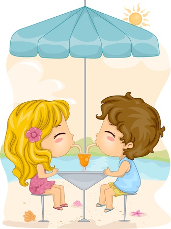 Illustration of a Boy and a Girl Sharing a Drink  Stock Illustration - 9947682