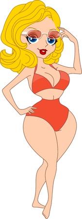 Illustration of a Woman Raising Her Sunglasses illustration