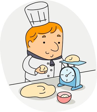 Illustration of a Baker Weighing Ingredients illustration