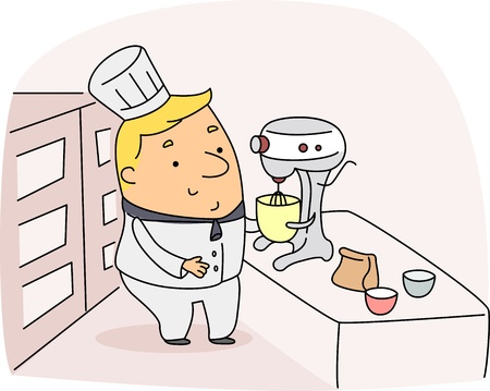 Illustration of a Chef at Work Stock Illustration - 9947648