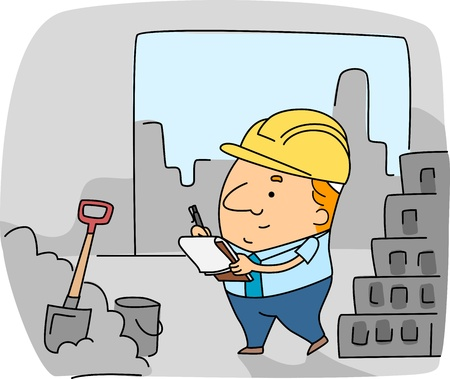 Illustration of a Construction Inspector at Work Stock Illustration - 9947647