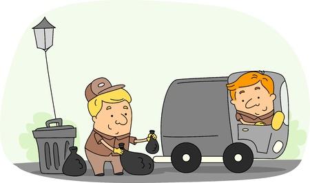 camion de basura: Ilustraci�n de un recolector de basura en el trabajo