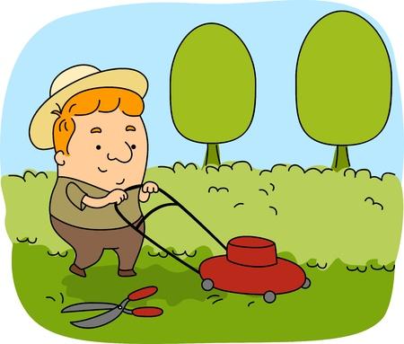jardinero: Ilustraci�n de un jardinero en el trabajo Foto de archivo
