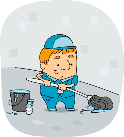 janitor: Illustration of a Janitor at Work Stock Photo