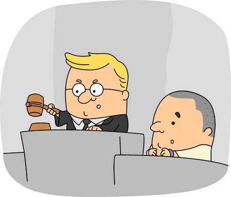 handcuffed: Illustration of a Judge at Work Stock Photo