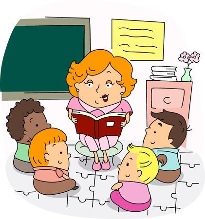 maestra preescolar: Ilustraci�n de una maestra de preescolar en el trabajo