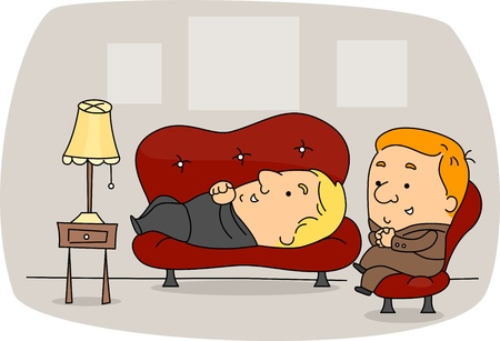 mental work: Illustration of a Psychiatrist at Work
