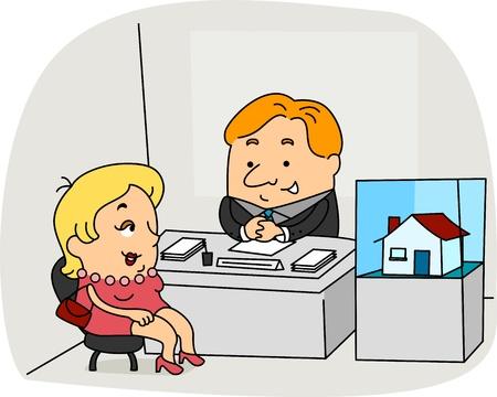 Illustration of a Real Estate Agent at Work illustration