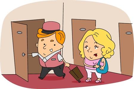 Illustration of a Bellboy at Work Stock Illustration - 9947642