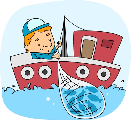 Illustration of a Fisherman at Work illustration