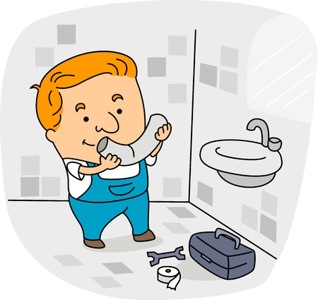 Illustration of a Plumber at Work Stock Illustration - 9947655