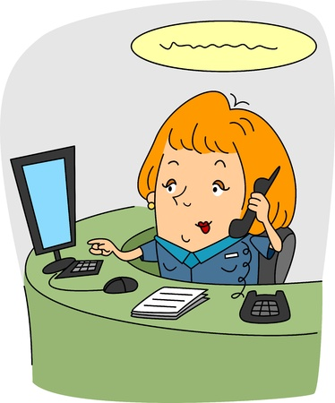 Illustration of a Receptionist at Work Stock Illustration - 9947667
