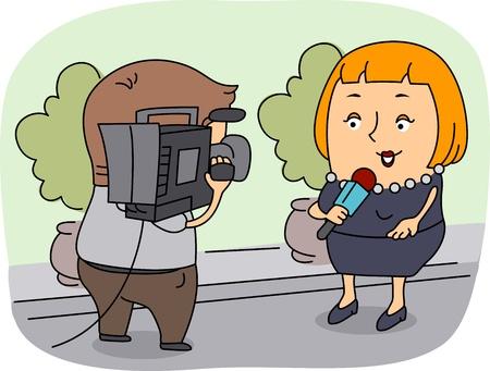 reportero: Ilustraci�n de un reportero en el trabajo Foto de archivo