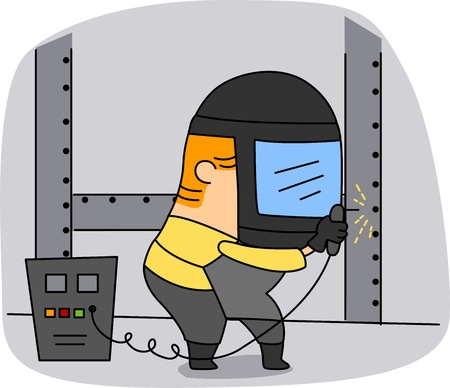 Illustration of a Welder at Work illustration