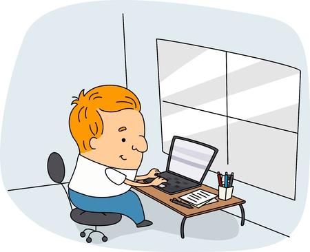 reportero: Ilustraci�n de un escritor en el Trabajo