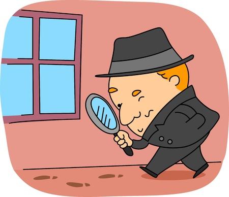 Illustration of a Detective at Work illustration