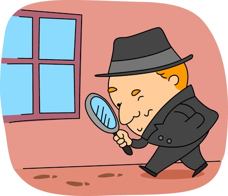 clues: Illustration of a Detective at Work