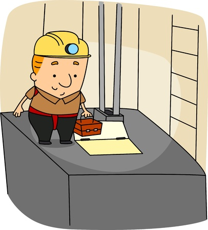 Illustration of an Elevator Mechanic at Work illustration