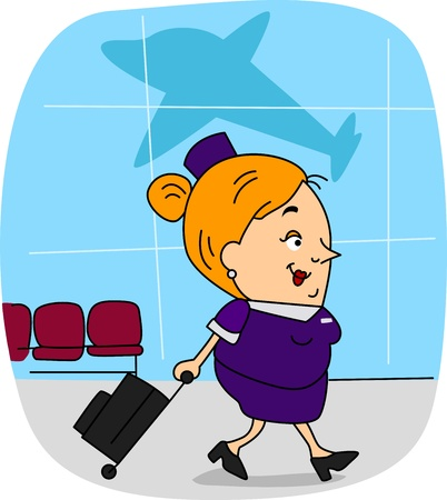 cabin attendant: Illustration of a Flight Attendant at Work Stock Photo