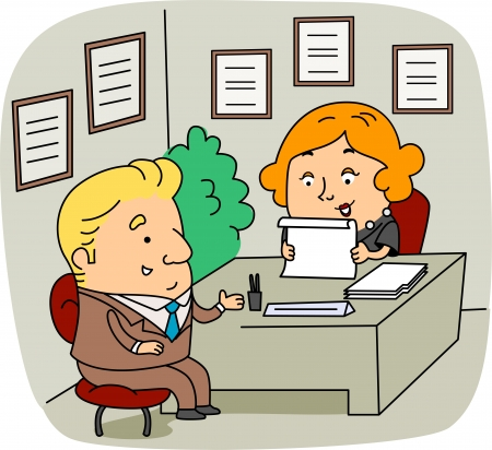Illustration of an HR Personnel at Work Stock Illustration - 9947683