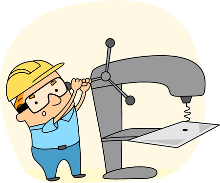 assembly line: Illustration of a Metal Worker at Work