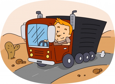 Illustration of a Truck Driver at Work illustration